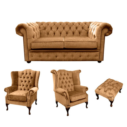 Chesterfield 2 Seater Sofa + 1 x  Mallory Wing Chair + 1 x Queen Anne Wing Chair + Footstool Harmony Gold Velvet Sofa Suite Offer