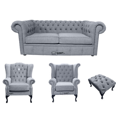 Chesterfield 2 Seater Sofa + 1 x  Mallory Wing Chair + 1 x Queen Anne Wing Chair + Footstool Verity Plain Steel Fabric Sofa Suite Offer