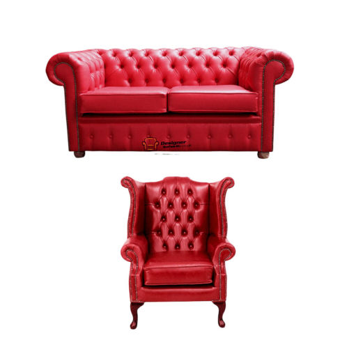 Chesterfield 2 Seater Sofa + Queen Anne Chair Old English Gamay Red Leather Sofa Offer