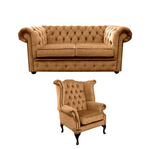 Chesterfield 2 Seater Sofa + Queen Anne Wing Chair Harmony Gold Velvet Sofa Suite Offer