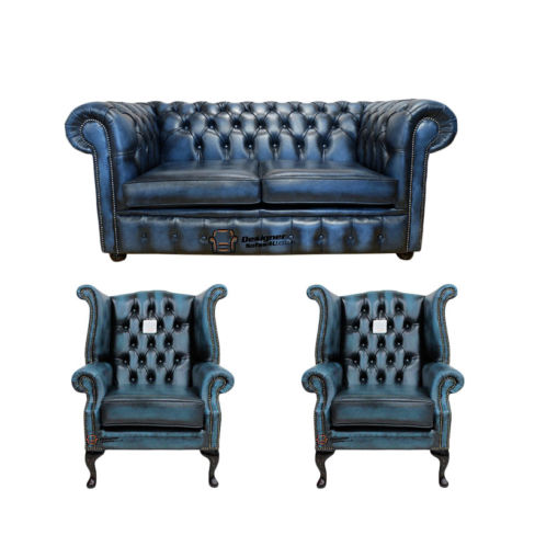 Chesterfield 2 Seater Sofa + 2 x Queen anne Chairs Leather Sofa Suite Offer Antique blue