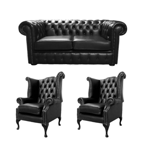 Chesterfield 2 Seater Sofa + 2 x Queen Anne Chairs Old English Black Leather Sofa Offer