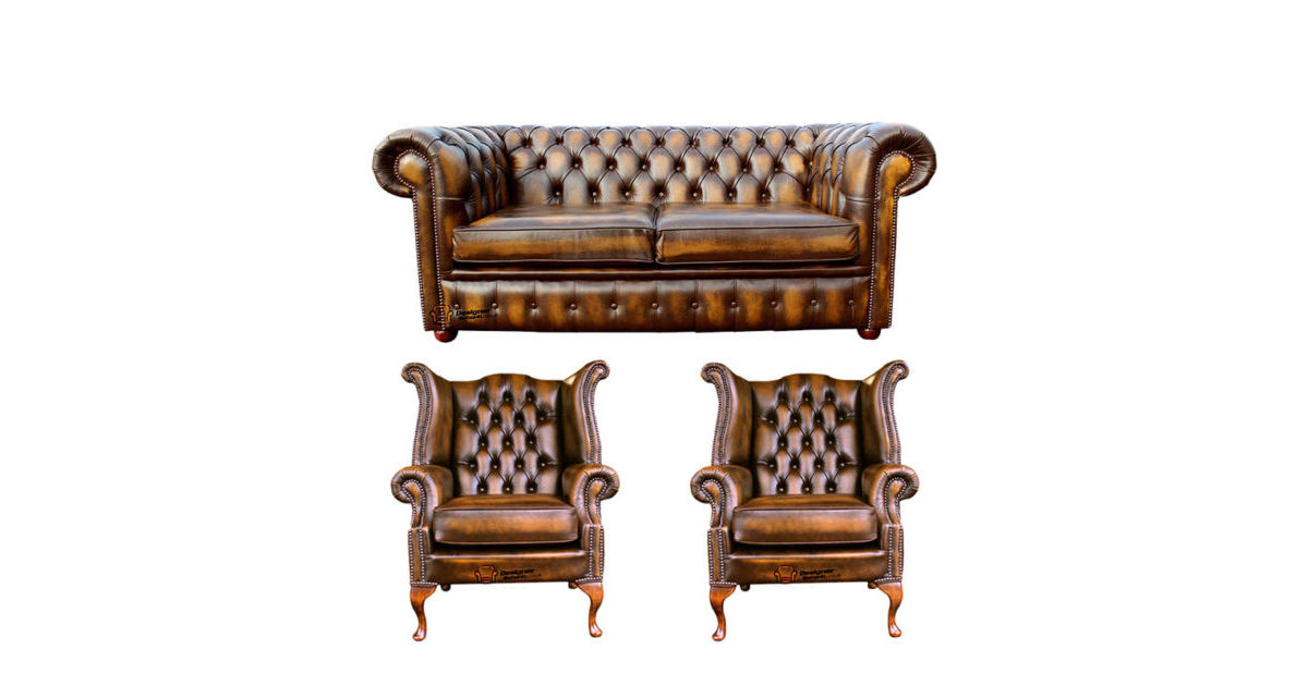Chesterfield 2 Seater Sofa 2 X Queen Anne Chairs Leather