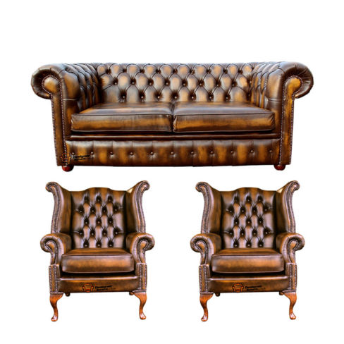 Chesterfield 2 Seater Sofa + 2 x Queen anne Chairs Leather Sofa Suite Offer Antique Gold