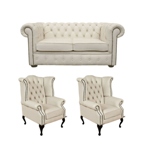 Chesterfield 2 Seater Sofa + 2 x Queen anne Chairs Leather Sofa Suite Offer Ivory