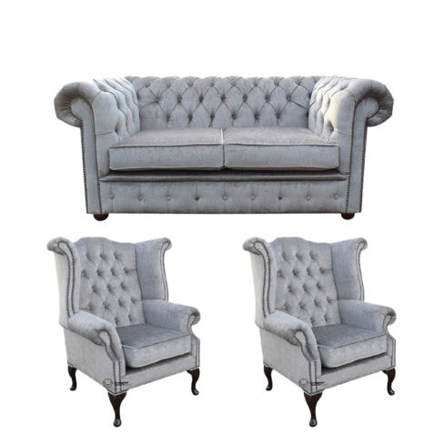 Chesterfield 2 Seater Sofa + 2 x Queen Anne Wing Chairs Harmony Dusk Velvet Sofa Suite Offer
