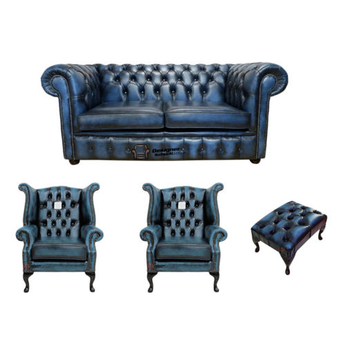 Chesterfield 2 Seater Sofa + 2 x Queen anne Chairs+footstool Leather Sofa Suite Offer Antique blue