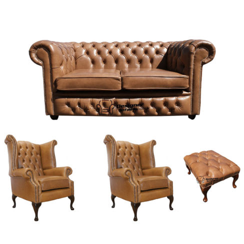 Chesterfield 2 Seater Sofa + 2 x Queen Anne Chairs + Footstool Old English Tan Leather Sofa Offer
