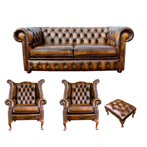 Chesterfield 2 Seater Sofa + 2 x Queen anne Chairs+footstool Leather Sofa Suite Offer Antique Gold