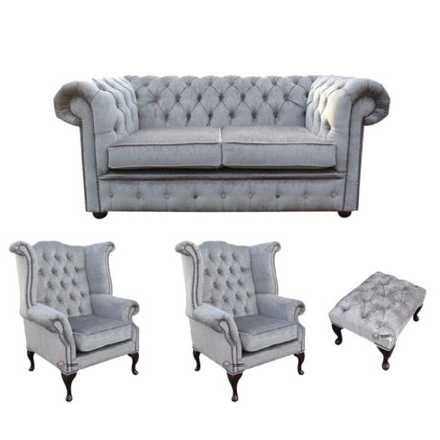 Chesterfield 2 Seater Sofa + 2 x Queen Anne Wing Chairs + Footstool Harmony Dusk Velvet Sofa Suite Offer