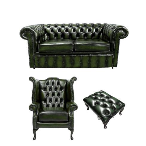 Chesterfield 2 Seater Sofa + Queen anne + Footstool Leather Sofa Suite Offer Antique Green