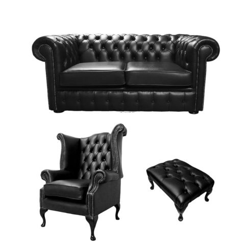 Chesterfield 2 Seater Sofa + Queen Anne Chairs + Footstool Old English Black Leather Sofa Offer