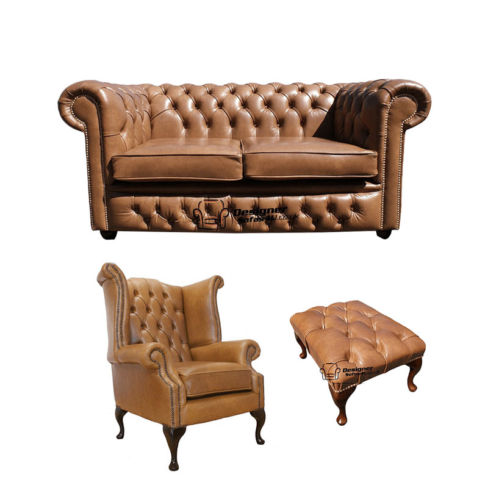 Chesterfield 2 Seater Sofa + Queen Anne Chairs + Footstool Old English Tan Leather Sofa Offer