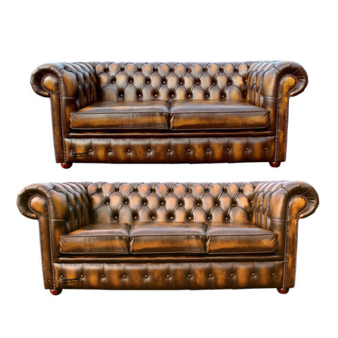 Chesterfield 3+2 Leather Sofa Offer antique Gold