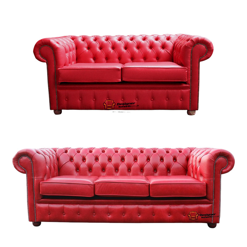 Chesterfield 2 Seater + 3 Seater Sofa Old English Gamay Red Leather Sofa  Offer