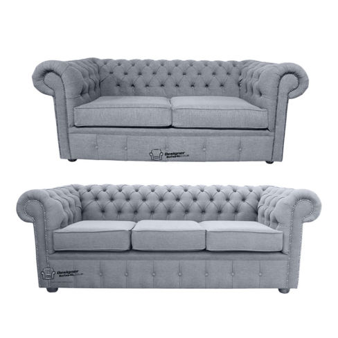 Chesterfield 3 Seater + 2 Seater Verity Plain Steel Fabric Sofa Suite Offer