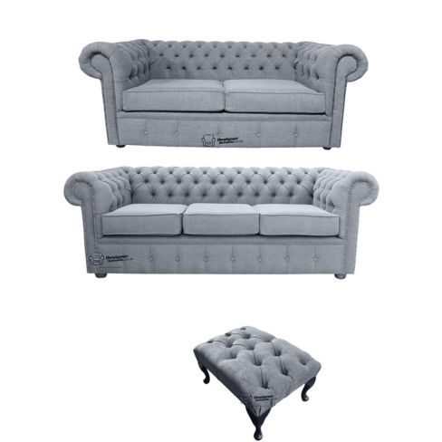 Chesterfield 3 Seater + 2 Seater + Footstool Verity Plain Steel Fabric Sofa Suite Offer