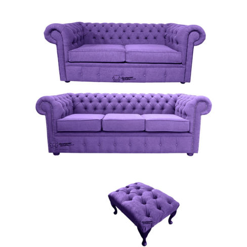 Chesterfield 3 Seater + 2 Seater + Footstool Verity Purple Fabric Sofa Suite Offer