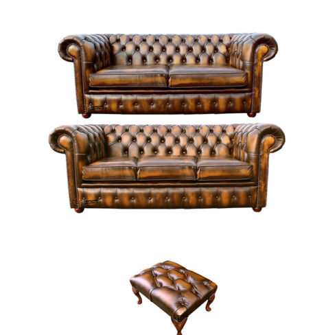 Chesterfield 3+2+footstool Leather Sofa Offer antique Gold leather
