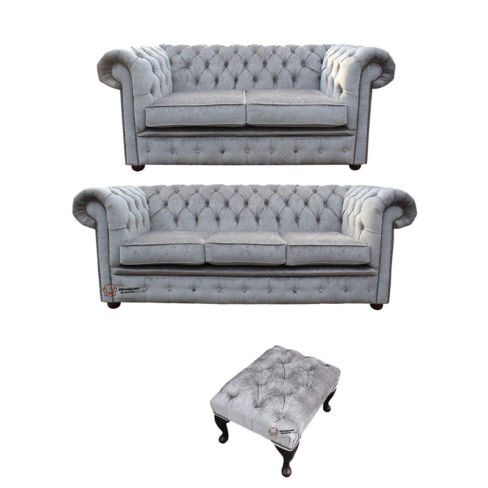 Chesterfield 3 Seater + 2 Seater + Footstool Perla Illusions Velvet Sofa Suite Offer