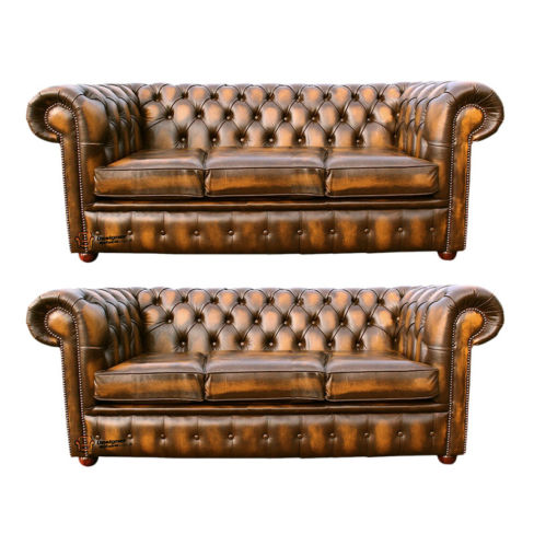 Chesterfield 3+3 Leather Sofa Offer antique Gold