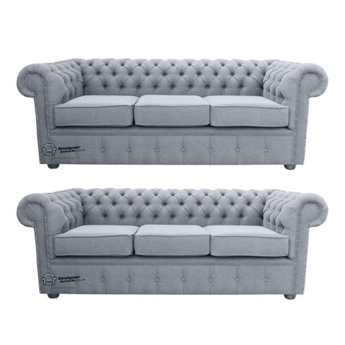 Chesterfield 3 Seater + 3 Seater Settee Verity Plain Steel Fabric Sofa Suite Offer