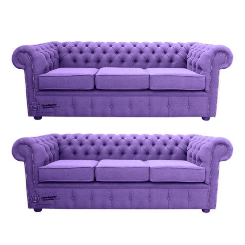 Chesterfield 3 Seater + 3 Seater Settee Verity Purple Fabric Sofa Suite Offer