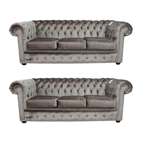 Chesterfield 3 Seater + 3 Seater Sofa Boutique Beige Velvet Sofa Suite Offer