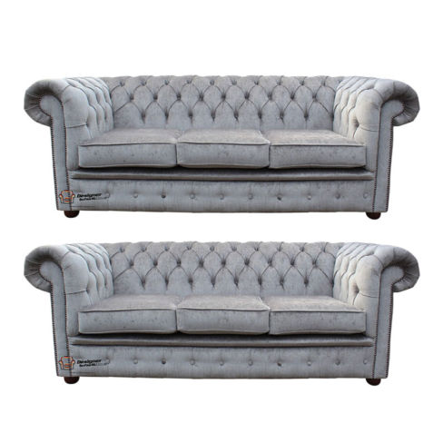 Chesterfield 3 Seater + 3 Seater Settee Perla Illusions Velvet Sofa Suite Offer