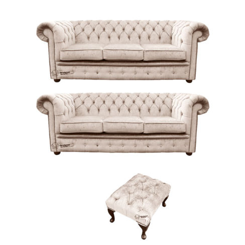 Chesterfield 3 Seater + 3 Seater Settee + Footstool Harmony Ivory Velvet Sofa Suite Offer