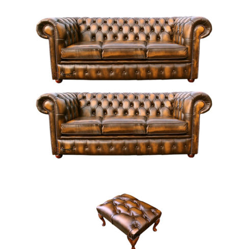 Chesterfield 3+3+footstool Leather Sofa Offer antique Gold leather