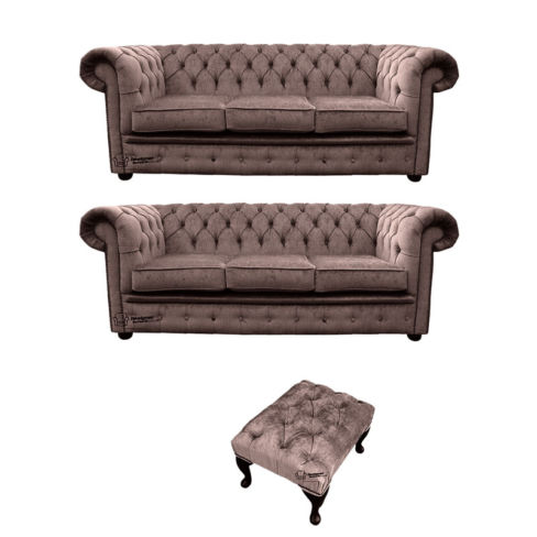 Chesterfield 3 Seater + 3 Seater Settee + Footstool Harmony Charcoal Velvet Sofa Suite Offer