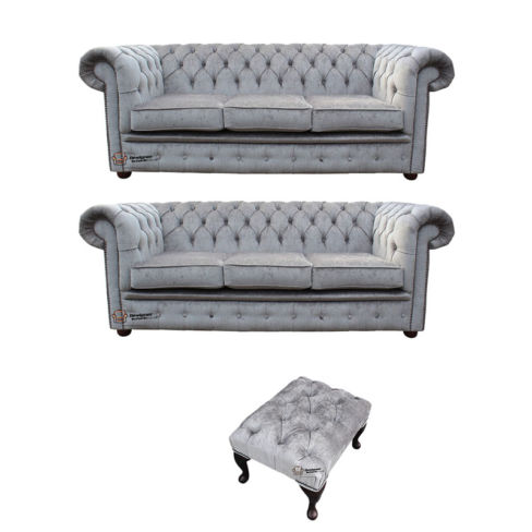 Chesterfield 3 Seater + 3 Seater Settee + Footstool Perla Illusions Velvet Sofa Suite Offer