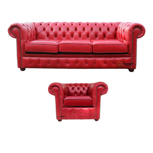 Chesterfield 3 Seater + Club Chair Old English Gamay Red Leather Sofa Offer