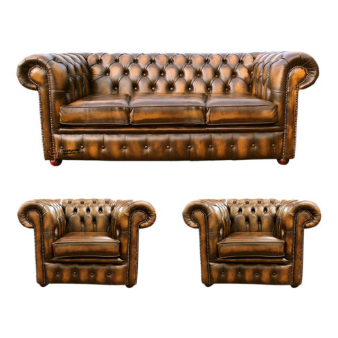 Chesterfield 3 Seater Sofa + 2 x Club Chairs Leather Sofa Suite Offer Antique Gold