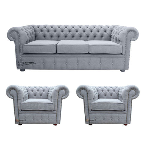 Chesterfield 3 Seater + 2 x Club chairs Verity Plain Steel Fabric Sofa Suite Offer