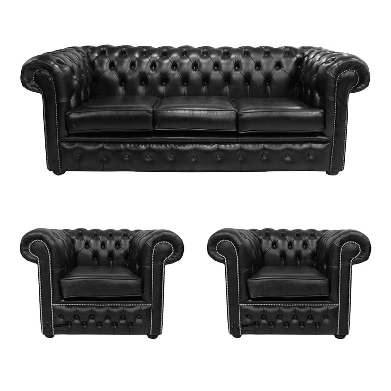 Sensational Chesterfield 3 Seater 2 X Club Chairs Old English Black Leather Sofa Offer Interior Design Ideas Gentotryabchikinfo