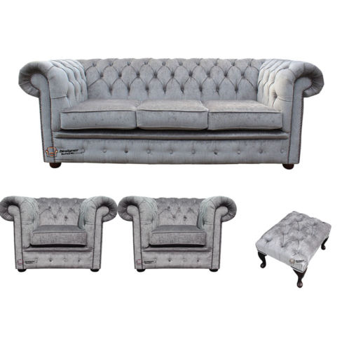 Chesterfield 3 Seater + 2 x Club chairs + Footstool Perla Illusions Velvet Sofa Suite Offer
