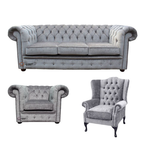 Chesterfield 3 Seater Sofa + Club Chair + Mallory Wing Chair Harmony Dusk Velvet Sofa Suite Offer