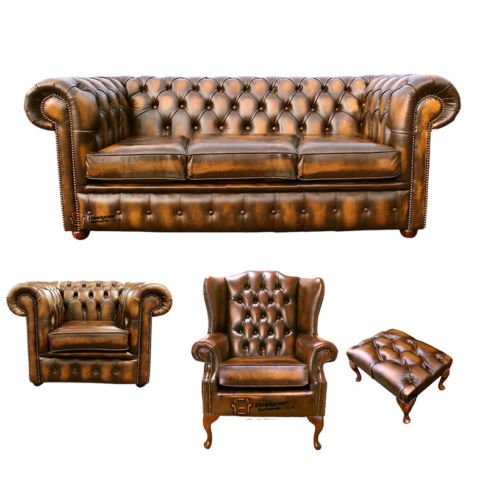 Chesterfield 3 Seater Sofa + Club Chair + Mallory Wing Chair + Footstool Leather Sofa Suite Offer Antique Gold