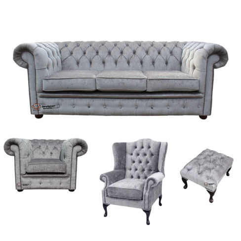 Chesterfield 3 Seater Sofa + Club Chair + Mallory Wing Chair+Footstool Harmony Dusk Velvet Sofa Suite Offer