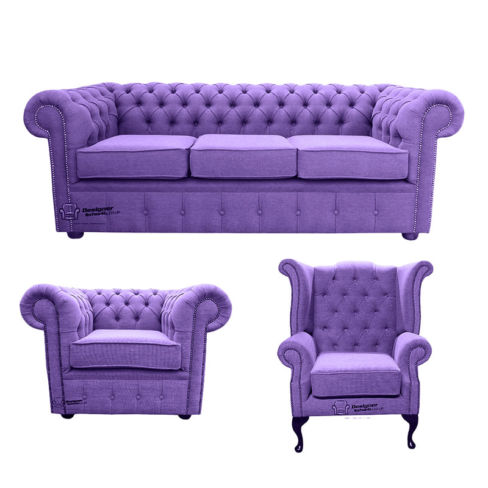 Chesterfield 3 Seater Sofa + Club Chair + Queen anne chair Verity Purple Fabric Sofa Suite Offer