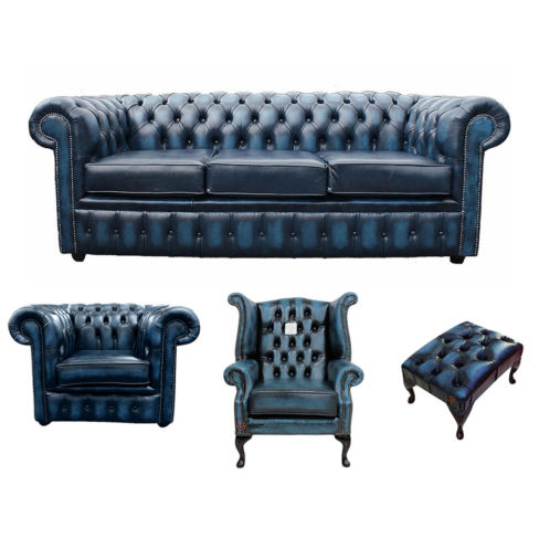 Chesterfield 3 Seater Sofa + Club Chair + Queen Anne Wing Chair + Footstool Leather Sofa Suite Offer Antique blue