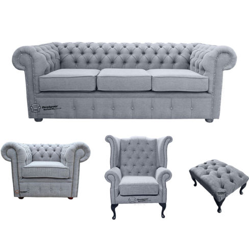 Chesterfield 3 Seater Sofa + Club Chair + Queen anne chair+Footstool Verity Plain Steel Fabric Sofa Suite Offer