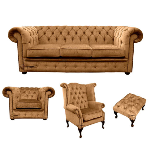 Chesterfield 3 Seater Sofa + Club Chair + Queen anne chair+Footstool Harmony Gold Velvet Sofa Suite Offer