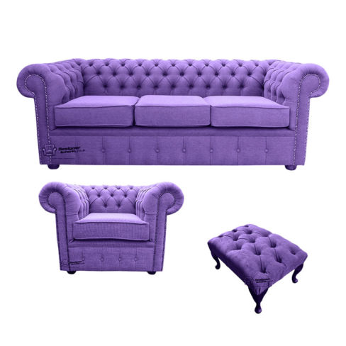 Chesterfield 3 Seater Sofa + Club Chair + Footstool Verity Purple Fabric Sofa Suite Offer