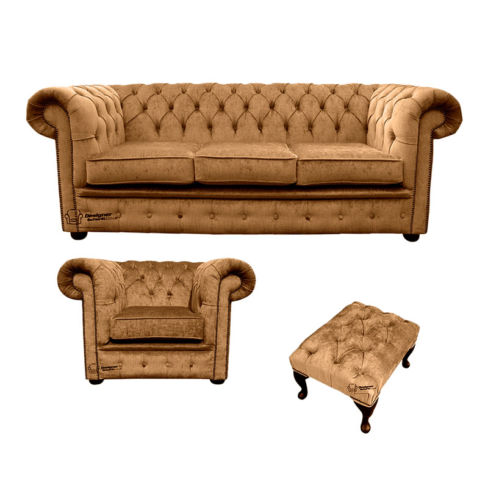 Chesterfield 3 Seater Sofa + Club Chair + Footstool Harmony Gold Velvet Sofa Suite Offer