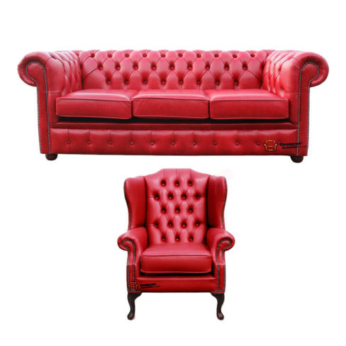 Chesterfield 3 Seater Sofa + Mallory Wing Chair Old English Gamay Red Leather Sofa Offer