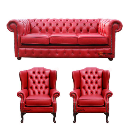 Chesterfield 3 Seater Sofa + 2 x Mallory Wing Chairs Old English Gamay Red Leather Sofa Offer
