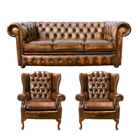 Chesterfield 3 Seater Sofa + 2 x Mallory Wing Chairs Leather Sofa Suite Offer Antique Gold